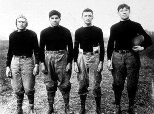 In this undated photo, Thorpe (far right) stands with teammates from the Carlisle Indian Industrial School football team in Carlisle, Pa., where he was named an All-American football player in 1911 and 1912. In 1920, he became the first president of the American Professional Football Association, now known as the National Football League.