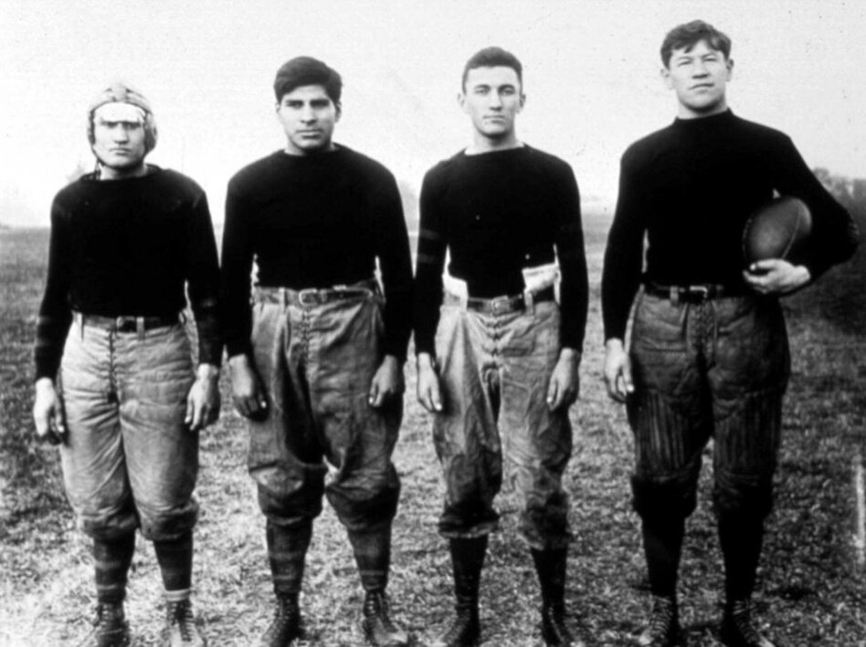 In this undated photo, Thorpe (far right) stands with teammates from the Carlisle Indian Industrial School football team in Carlisle, Pa., where he was named an All-American football player in 1911 and 1912. In 1920, he became the first president of the American Professional Football Association, now known as the National Football League.  (Hansi Lo Wang, Amanda Steen)