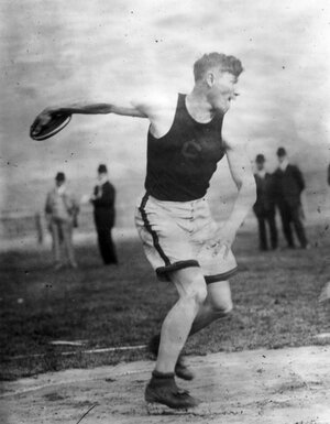 """Thorpe throws a discus at the 1912 Olympics in Stockholm, where he won gold medals in both the pentathlon and decathlon events and King Gustav V of Sweden declared him """"the most wonderful athlete in the world."""" After being revoked in 1913 due to a stint as a professional baseball player, his medals were reinstated by the International Olympic Committee in 1982."""