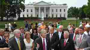 Rep. Trey Gowdy (R-SC, center) speaks as he and a group of freshman Republican congressmen hold a news conference on the debt ceiling last month in front of the White House.