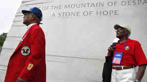 Tuskegee Airmen William Fauntroy, left, and William Wilson, got an early look at the Martin Luther King, Jr. Memorial Wednesday. The veterans are in Washington for the Tuskegee national convention; the memorial will open in late August.