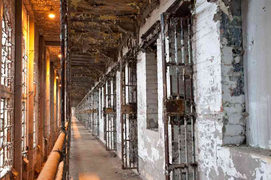 The west cellblock of the Ohio State Reformatory. For the movie, an exact replica of this block was built (largely of wood) at an old Westinghouse warehouse in Mansfield. The wooden set was easier for the filmmakers to manipulate.
