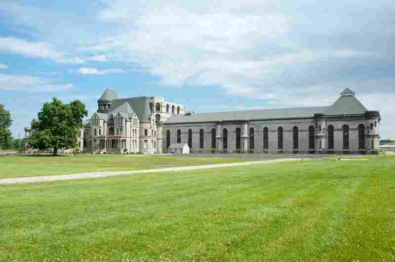 The Ohio State Reformatory, in Mansfield, Ohio, where the 1994 film The Shawshank Redemption was shot. The buildings, which once formed the perimeter of the Reformatory — and which can be seen in the film — have been torn down, but the Reformatory and its massive east and west cellblocks remain.