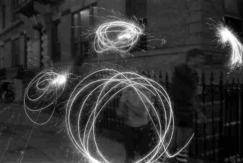 Waving sparklers on July 4, 1984