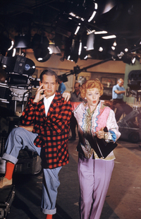 Desi Arnaz and Lucille Ball pose at the Desilu Studios in 1958.