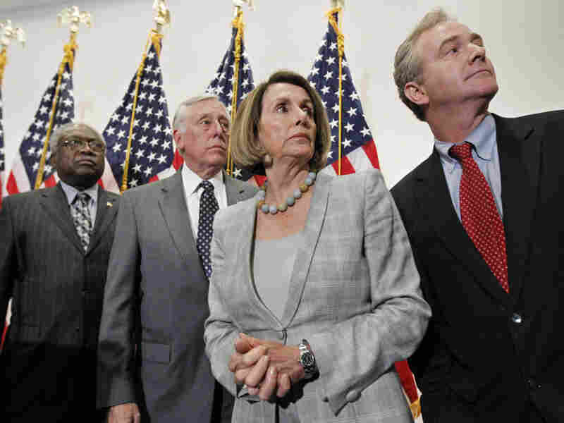 Democratic Leader Nancy Pelosi and House Minority Whip Steny Hoyer (second from left) will have to choose colleagues for the debt committee. Reps. James Clyburn (left) and Chris Van Hollen (right) have been mentioned as candidates.