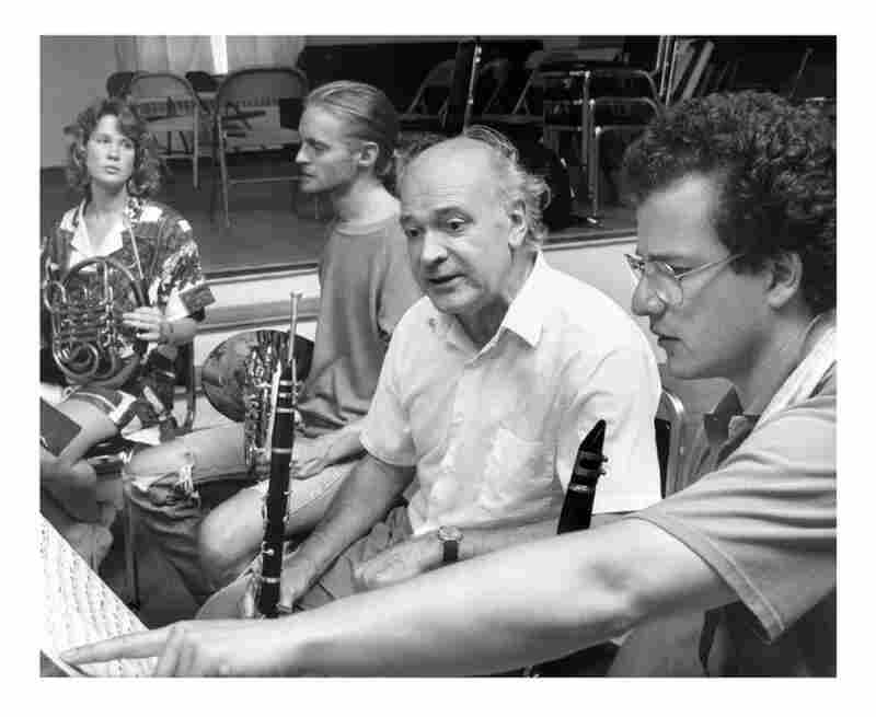 Horn players Christine Chapman and Christopher Komer, with clarinettists Harold Wright (center) and Ron Chen-Zion in 1990.