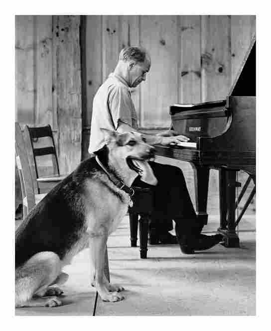 Rudolf Serkin with German shepherd in the 1960s.