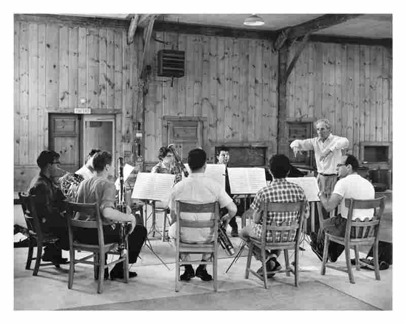 Marlboro co-founder Marcel Moyse (standing) conducts Beethoven's Octet for Winds in 1960.