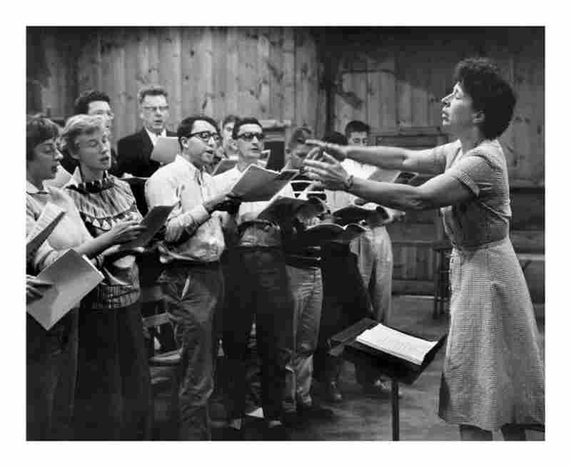 Marlboro co-founder Blanche Moyse conducts in the 1950s.