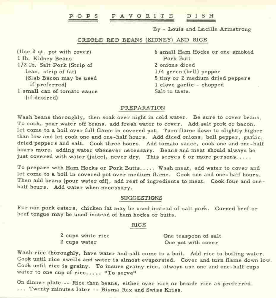 Louis Armstrong's red beans and rice recipe.