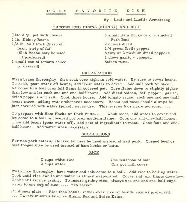 Fagioli rossi di Louis Armstrong e ricetta del riso.