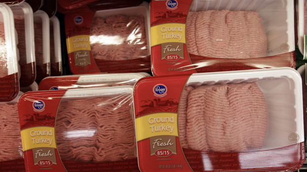 Concerns about salmonella contamination led Cargill to recall 36 million pounds of ground turkey sold under many different brand names, including these packages at a Kroger grocery store in Redwood City, Calif. (AP)