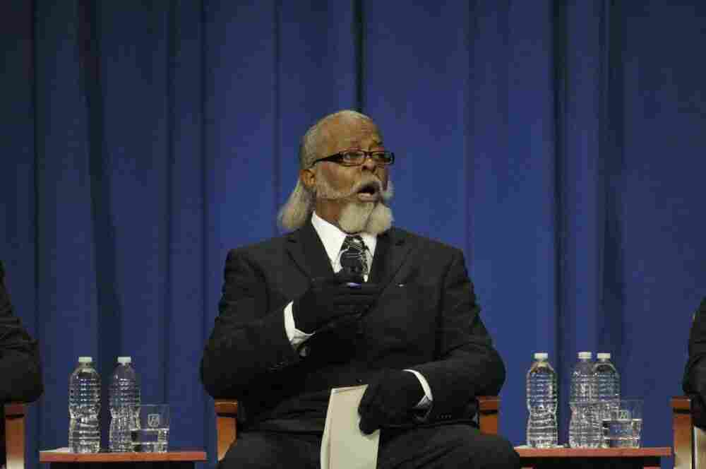 Jimmy McMillan of the Rent is Too Damn High Party speaks during the gubernatorial debate at Hofstra University in Oct. 2010.