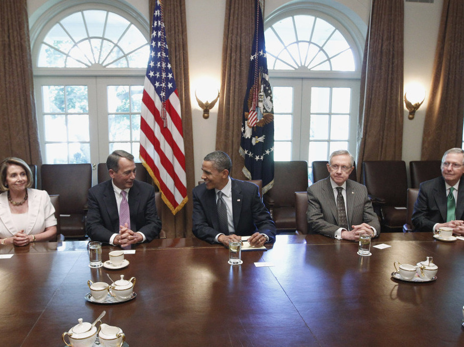 President Obama with congressional leaders on July 14 in the Cabinet Room of the White House.  House Minority Leader Nancy Pelosi, House Speaker John Boehner, Senate Majority Leader Harry Reid and Senate Minority Leader Mitch McConnell are among leaders who will appoint members of the joint committee.