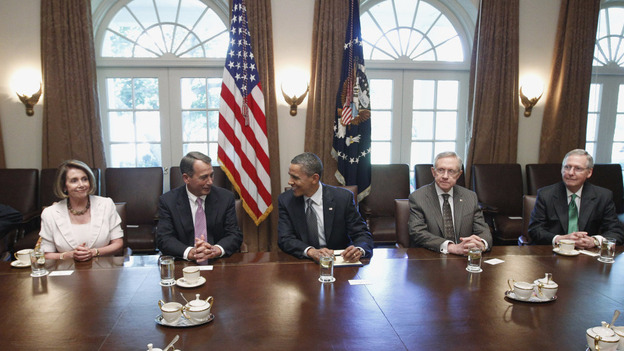 President Obama with congressional leaders on July 14 in the Cabinet Room of the White House.  House Minority Leader Nancy Pelosi, House Speaker John Boehner, Senate Majority Leader Harry Reid and Senate Minority Leader Mitch McConnell are among leaders who will appoint members of the joint committee. (AP)