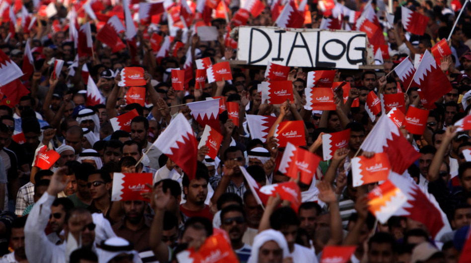 Tens of thousands of Bahrainis participate in an anti-government march on July 29 in Saar, Bahrain. The protest took place a day after authorities raided and shut down the local office of an international medical aid group, highlighting the way the government crackdown has included medical workers who have treated injured protesters.