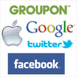 Company logos for Twitter, Google, Groupon, Facebook and Apple