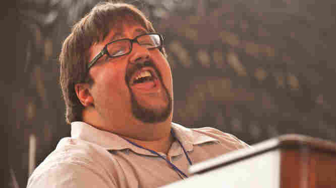 Joey DeFrancesco performs with his trio on the Harbor Stage during the Newport Jazz Festival.
