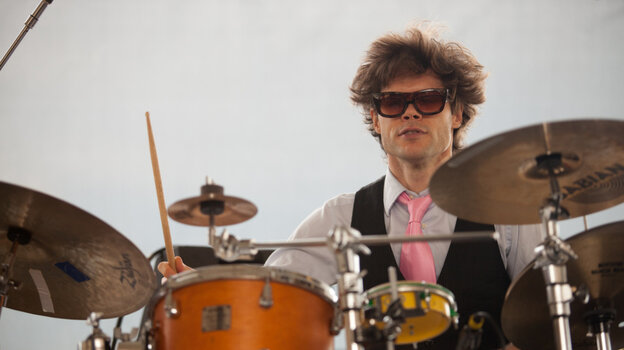 Kevin Shea on drums as Mostly Other People Do The Killing performs on the Quad Stage during the Newport Jazz Festival.