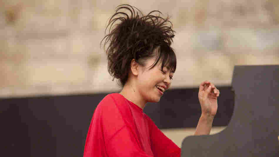 Hiromi performs on the Fort Stage during the Newport Jazz Festival.