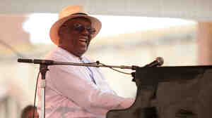 Randy Weston performs with his African Rhythms Trio on the Quad Stage during the Newport Jazz Festival.