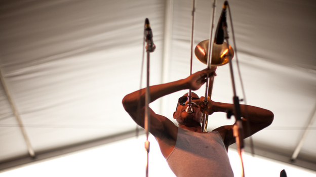 Trombone Shorty performs with Orleans Avenue on the Quad Stage during the Newport Jazz Festival.
