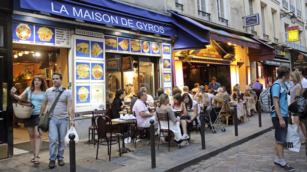 Restaurants line a street of the Quartier Latin in central Paris. (AFP/Getty Images)