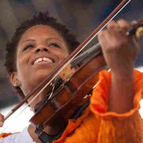 Regina Carter performs at the Fort Stage during the Newport Jazz Festival.