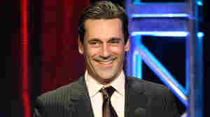 Actor Jon Hamm accepts the Individual Achievement in Drama Award for Mad Men during the 27th Annual Television Critics Association Awards on Saturday night.