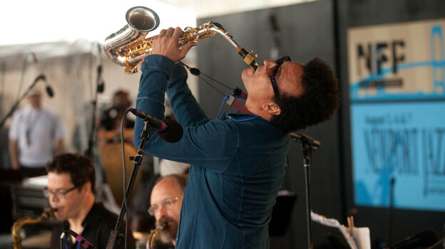 Alex Foster performs with Mingus Big Band at the Fort Stage during the Newport Jazz Festival.