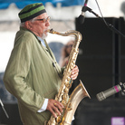 Charles Lloyd performs on the Fort Stage during the Newport Jazz Festival.