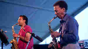 Rudresh Mahanthappa (left) And Bunky Green perform with Apex on the Quad stage during the Newport Jazz Festival.