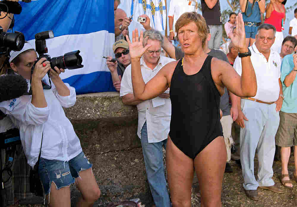 Diana Nyad delivers a speech at Ernest Hemingway Nautical Club, in Havana.