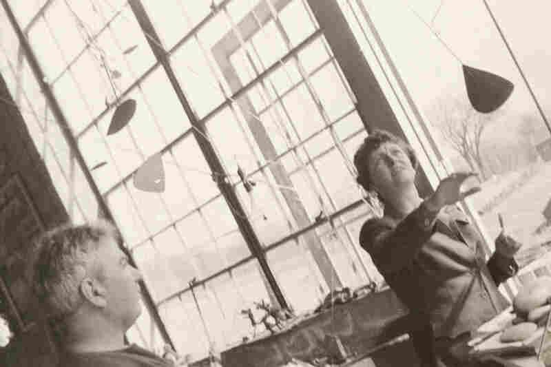 Agnes Rindge Claflin and Alexander Calder in Calder's studio, circa 1942