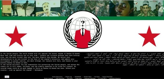 The hacking group Anonymous took over Syria's defense ministry site Monday.