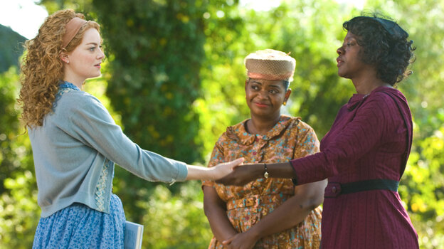 Help Me Help You: Skeeter Phelan (Emma Stone, left), a neophyte journalist in Mississippi, interviews housemaids Minny Jackson (Octavia Spencer, center) and Aibileen Clark (Viola Davis, right) about what it's like to work for white people. The Help aspires to be a three-hankie melodrama, but there's no steady directorial hand summoning the tears.