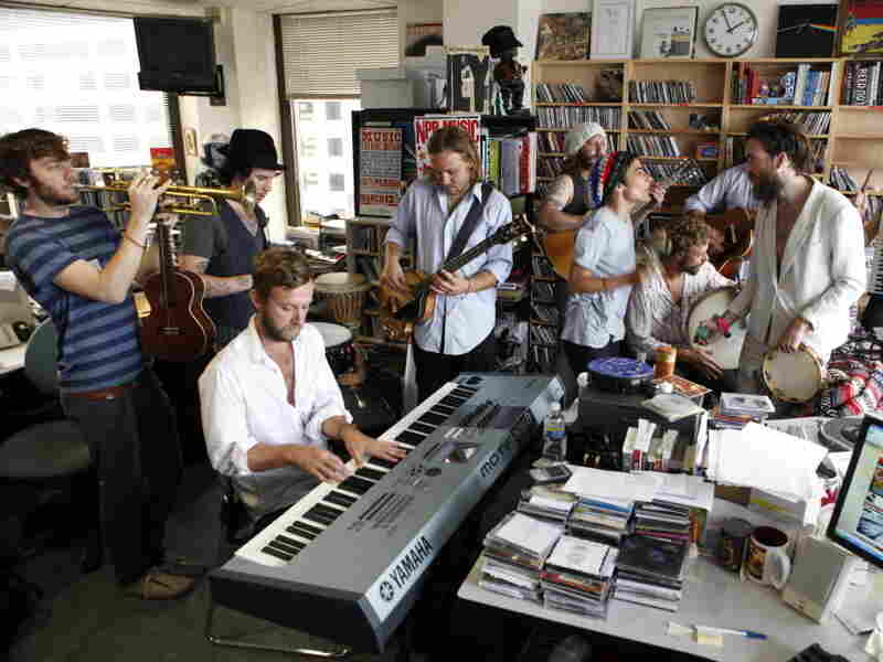 Edward Sharpe & The Magnetic Zeros perform a Tiny Desk Concert in 2009.
