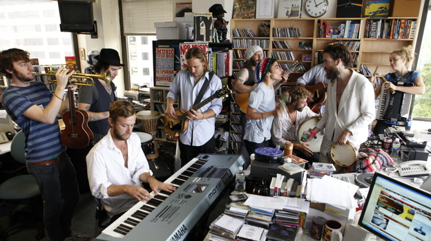 Edward Sharpe & The Magnetic Zeros perform a Tiny Desk Concert in 2009. (NPR)