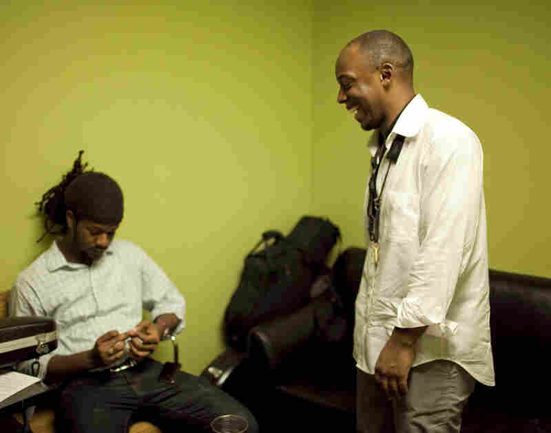 Marcus Strickland chats with his bassist Ben Williams backstage.