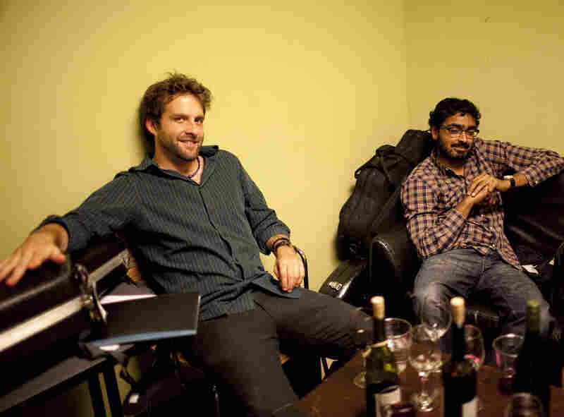 Pianist Taylor Eigsti (left) and bassist Harish Raghavan, backstage.