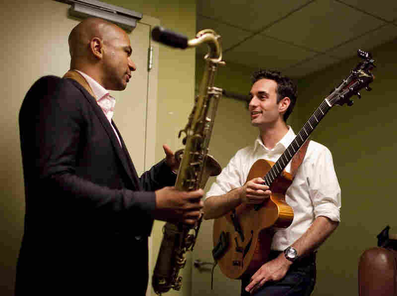 Saxophonist Walter Smith III (left) and guitarist Julian Lage, backstage.