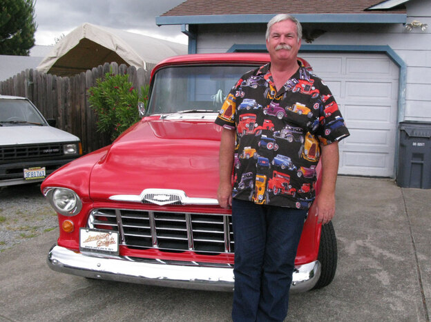 John Furrer of Petaluma, Calif. in front of his 1955 Chevy pickup.