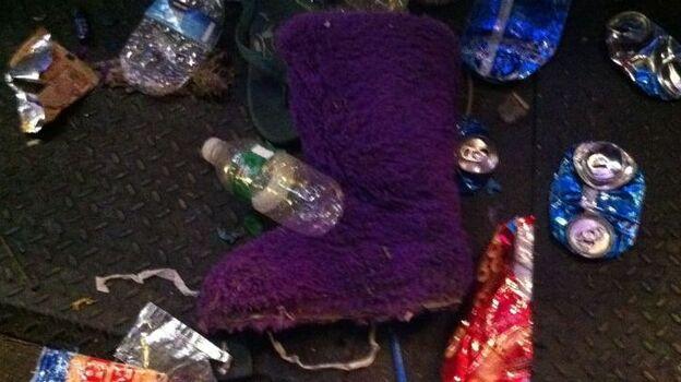 Who wears purple furry boots to a rock show? (Bob Boilen/NPR)