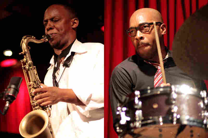 Marcus Strickland (left) and Eric Harland, during their bands' performances at 92Y Tribeca.