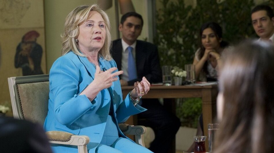 """U.S. Secretary of State Hillary Clinton answers questions during a July 16 appearance on CNN-Turk. Clinton said that the United States was """"concerned"""" about media freedom and free speech in Turkey amid the arrest of dozens of journalists and restrictions on the Internet."""