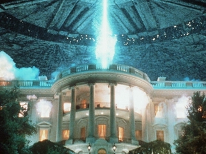 In a scene from the 1996 film Independence Day, the White House comes under attack by aliens from outer space.