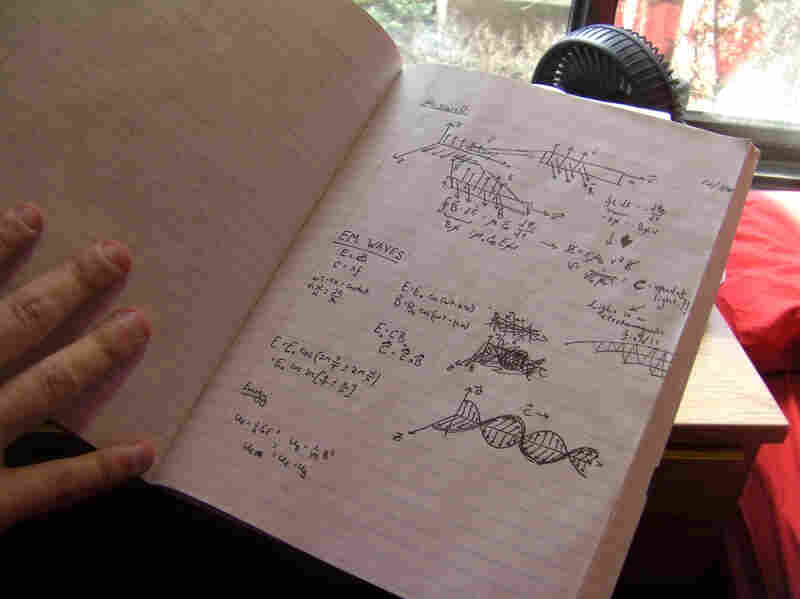 Katz took an advanced physics class at Stony Brook University. He cherishes this page of his notebook, when his professor began teaching about electromagnetism.