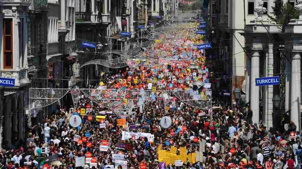 Thousands of Turks march in Istanbul in May to protest against Internet filter regulations that were scheduled to go into effect in August. The government now says it will wait until November to introduce the measures.