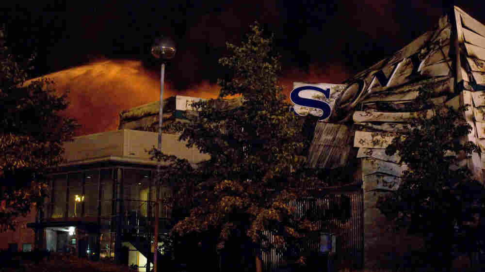 Firefighters battle the blaze at the Sony distribution center in London.